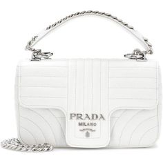Prada Leather Shoulder Bag (€1.475) ❤ liked on Polyvore featuring bags, handbags, shoulder bags, white, genuine leather shoulder bag, genuine leather handbags, leather purses, shoulder hand bags and leather handbags