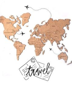 Wooden Wall Art Map of the World Map Travel Push Pin Card Friend Christmas Gift Rustic Gift