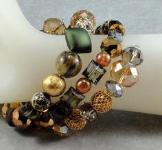 Earth Tone, Acrylic Beads, Memory Wire Bracelet, Bangle Bracelet on Etsy, $25.00