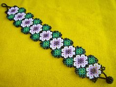 Mexican  huichol beaded flower bracelet on Etsy, $23.95