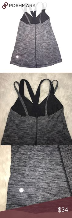 "💔 Lululemon top Great condition Lululemon top size-2 black gray color. Has build in bra. Pre-washed and ready to go💗💗💗 I have  another one in purple color, check my closet Please 💝💝💝. Total length-22"" lululemon athletica Tops"