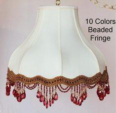 "Umbrella Bell Victorian Silk Lamp Shade Cream or White, 10 Beaded Fringe Colors 16-20""W"