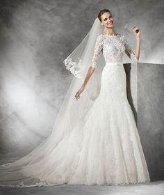 Timy, vestido de noiva em renda de manga comprida