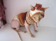 kleding voor de sphynx kat trui, kat, kat kostuum, kat kleren, kat hoed, sphynx trui, kat xmas trui, sphynx kat kleding, halloween…