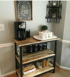 How to build a modern farmhouse coffee table - Couchtisch DIY - Coffee Coffee Nook, Coffee Bar Home, Home Coffee Stations, Coffee Bar Ideas, Office Coffee Station, Coffee Station Kitchen, Coffee Tables, Coffee Coffee, Beverage Stations