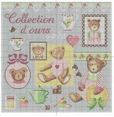 Cross Stitch Art, Cross Stitch Animals, Cross Stitch Patterns, Cross Stitch Pictures, Boyds Bears, Projects To Try, Miniatures, Teddy Bear, Quilts