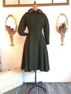 Vintage 1950's Princess Coat / Hunter Green by WhynaughtShop