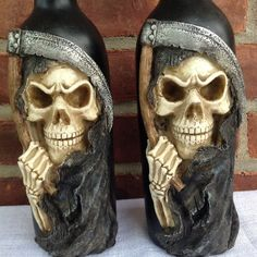 """2 Grim Reaper Black Death Halloween Creepy Scary Candle Holders 11.5""""H"""