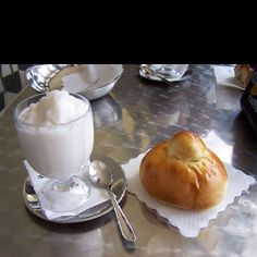 "In Sicily they have ice cream for breakfast! Well not exactly ""ice cream"" but gelato, sorbetto, and granita along with the brioche, a kind of pastry. Here pictured is granita and brioche which is sure. Italian Drinks, Italian Ice, Classic Italian, Christmas Desserts, Fun Desserts, Comida Siciliana, Champagne Recipe, Ice Cream For Breakfast, Italian Breakfast"