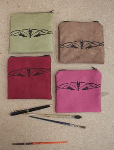 Brown zipper pouch handprinted pouch with black by Serpentaires