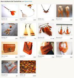 Les boucles d'oreilles créoles à plumes tigrées oranges rayées de noir.