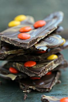 Peanut Butter and Chocolate Bark with Reese's Pieces   There is something about peanut butter combined with chocolate that makes perfect sense. Toss some peanut butter and chocolate candy into the mix and it's sheer perfection!