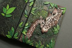 "polymer clay, Mandarin Duck: Giraffe Journal ""Mother's Love"" by Aniko Kolesnikova (Mandarin Duck)"