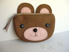 Brown Bear Zipper Pouch. $32.00, via Etsy.