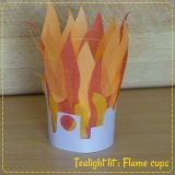Flame craft that lights up with a tea lite inside. Use for Pentecost, an altar (Elijah and others), pillar of fire, burning bush.... Comes with 4 different templates to make it an altar, a city, a bush and a crowd (Pentecost) // from JWL newsletter (Jesus Without Language).