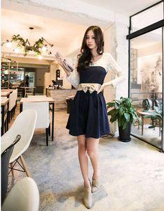 Navy Blue Lace Shoulder Dress