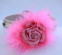 Cute Pink Dog Collar - Pink Flower with Hot Pink Feather - Chic Unique Dog Collar. $26.99, via Etsy.