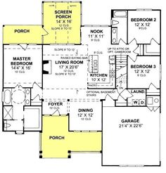 floor plan 1958 sq ft.  Add 3rd garage and move master section down and add study where porch is.  da