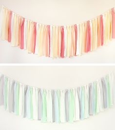 tied fabric garlands... would look pretty using vintage sheets :)