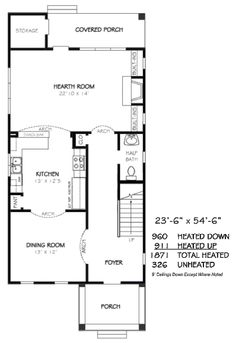 Traditional Style House Plan - 3 Beds 2.5 Baths 1871 Sq/Ft Plan #424-209 - Houseplans.com Traditional House Plans, Traditional Design, Narrow Lot House Plans, 3 Bedroom House, Traditional Bathroom, Building Plans, Hearth, Square Feet, Floor Plans