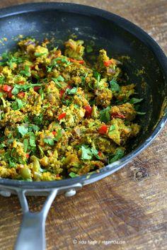 Broccoli Zunka Recipe - Broccoli & Bell Pepper with Spices, Chickpea flour. Broccoli Subzi Indian Veggie Side Recipe. Use spices of choice. Vegan Gluten-free Soy-free Recipe   VeganRicha.com