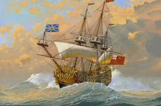 HMS Britannia: Charles II's magnificent flagship was a 100 gun 3-decked line of battleship. Built in Chatham, England, and launched in 1682, the Britannia was the biggest ship of Charles II's 30-ship program.