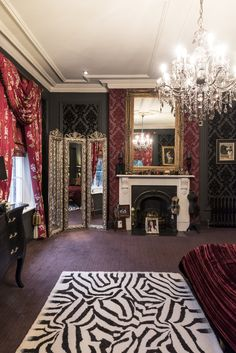 High Quality Gothic Glam, Bedroom Interior, Luxury Interior Design, Wood Panelling,  Chandelier, Victorian