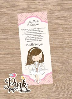 Communion Favor Card Bookmark Commuion by PinkPaperStudioMiami Communion Favors, Baptism Favors, First Communion Cards, Ideas Para Fiestas, Pink Paper, Cute Cards, Bookmarks, Card Stock, Prayers