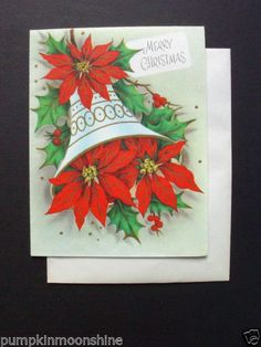 #H687- Vintage Gold Embossed Xmas Greeting Card Pretty Classic Poinsettia Bell