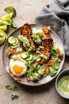 Crispy Rice Bowl with Browned Butter Sweet Potatoes and Herby Green Tahini. Keeping things colorful, healthy, and delicious…Crispy Rice Bowl with Browned Butter Sweet Potatoes + Herby Green Tahini. Made easy using pantry staples! Easy Vegetarian Dinner, Vegetarian Recipes, Healthy Recipes, Vegetarian Protein, Dinner Healthy, Healthy Meals, Keto Recipes, Half Baked Harvest, Food Staples