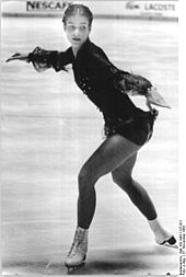 Katarina Witt (born 3 December 1965) is a German figure skater. Witt won two Olympic gold medals for East Germany, first at the 1984 Sarajevo Olympics and the second in 1988 at the Calgary Olympics. She is a four-time World champion (1984, 1985, 1987, 1988) and twice World silver medalist (1982, 1986).