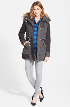 GUESS Faux Fur Trim Parka, Sandra Ingrish Shirt & Halogen® Jeans available at #Nordstrom