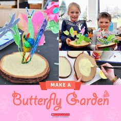 Show your kids how to make your own butterfly garden complete with caterpillars, tree stump, and flowers!