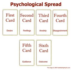 the-oracle-journals:  The Psychological Spread I haven't had the opportunity to try out this spread personally, but it sure does seem like it would come in good use! Use this spread to help evaluate and organize your thoughts and emotions. (NOTE: Card reading is not a valid replacement for a psychiatrist and should not be valued over professional help.) Source
