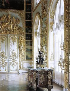 Catherine the Great's Palace is designed in the high Rococo style that was all the rage in France and Austria-Hamburg Empire