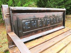 Totally cool Chevy truck tailgate bench created by Benny, Debra and Michael