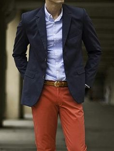 Pop of color - blazer with bright pants