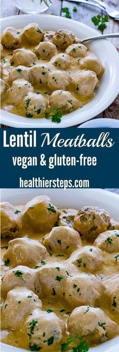 Meatballs (Vegan, Gluten-Free) You must try these amazing Lentil Meatballs - Vegan and Gluten-Free!You must try these amazing Lentil Meatballs - Vegan and Gluten-Free! Veggie Recipes, Whole Food Recipes, Cooking Recipes, Healthy Recipes, Free Recipes, Dinner Recipes, Soup Recipes, Vegan Lentil Recipes, Celiac Recipes