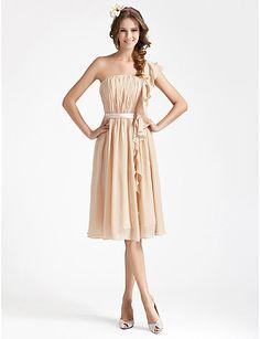 Morsiusneidon puku, sifonki, yksiolkaiminen, kotelo, polvipituinen - USD $ 97.99