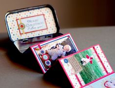Repurposed Altoid tins make cute mini-photo albums for the guest tables at the reception. :)