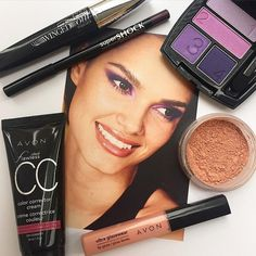 Pictured above: SuperExtend Winged Out Mascara, Supershock Gel Eyeliner in Plumful, True Color Eyeshadow Quad in Purple Pop, Smooth Minerals Blush in Radiance, Ultra Glazewear Lip Gloss in Pale Peach and Ideal Flawless CC Color Corrector Cream. Order from www.avonbydana.com