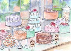 Cake Display Watercolor - Food Art Original Watercolor Painting - Colorful Dessert Scene - Original Art, 11x14 via Etsy