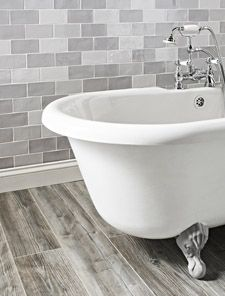 Grey 'floor boards' and wall tiles