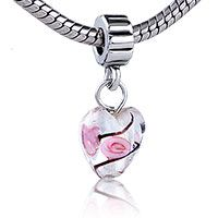 Pugster Foil Pink Rose Love Heart Dangle Style Pandora Bead$15.94