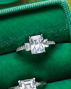 Wedding Rings If he get me this Emerald-Cut Diamond Engagement Ring I would say yes to the ring n then pass out >. - Check out these absolutely dazzling engagement rings—from round-cut stunners to emerald rocks. Emerald Cut Diamond Engagement Ring, Emerald Cut Diamonds, Diamond Rings, Diamond Cuts, Solitaire Rings, Solitaire Engagement, Emerald Cut Rings, Pink Diamonds, Ruby Rings