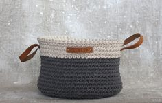 Handmade Crochet  Cotton Basket in cream/ grey by regreenyourlife