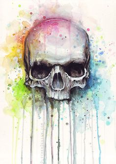 Cráneo Acuarela Pintura - olechkadesign