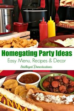 Homegating menu and snack hacks. Homegating Menu and snack hacks. How to set up a game day party spread with easy recipes and decor to create a festive atmosphere without breaking the budget. Pork Recipes, Fall Recipes, Crockpot Recipes, Holiday Recipes, Dinner Recipes, Snack Hacks, Party Spread, One Dish Dinners, Fall Dishes