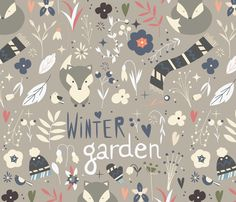 Winter garden pattern 002 fabric by bluelela on Spoonflower - custom fabric Baby Prints, Winter Garden, Baby Wearing, Bulletin Board, Custom Fabric, Spoonflower, Pattern Design, Craft Projects, Fabrics