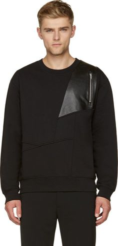 52ce2e47901a6b McQ Alexander Mcqueen Black Abstract Leather Panel Sweater Bandana  Masculina